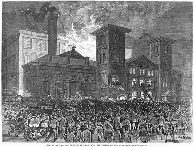 Mob Attacking Jail Print by Granger