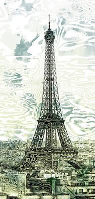 Modern Abstract Digital Art Digital Art Digital Art - Modern-art Eiffel Tower 12 by Melanie Viola