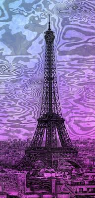 Modern Abstract Digital Art Digital Art Digital Art - Modern-art Eiffel Tower 14 by Melanie Viola