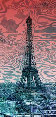 Modern Abstract Digital Art Digital Art Digital Art - Modern-art Eiffel Tower 17 by Melanie Viola