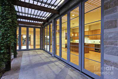 Modern Home Kitchen Through Glass Doors Print by Jeremy Woodhouse