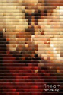 Modern Red And Gold Mosaic Print by Mark Lawrence