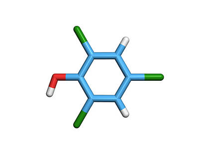 Molecule Of A Component Of Tcp Antiseptic Print by Dr Tim Evans