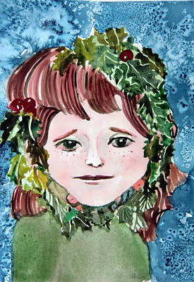 Berry Drawing - Mollys Holly by Mindy Newman