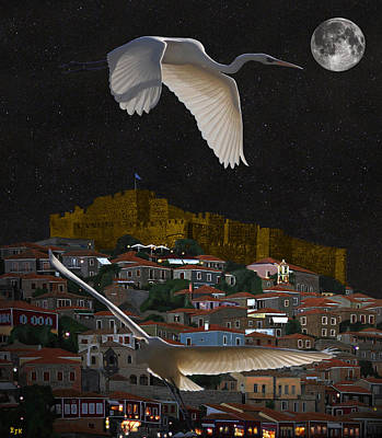 Parthenon Mixed Media - Molyvos Lesvos Egrets By Moonlight by Eric Kempson