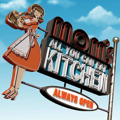 Mom's Diner Print by Anthony Ross