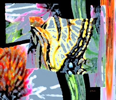 Abstracted Coneflowers Digital Art - Monarch In Tall Grasses by Gretchen Wrede