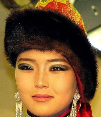 Gold Earrings Photograph - Mongolian Model by Diane Height