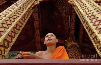 Monk Luang Prabang Print by Bob Christopher