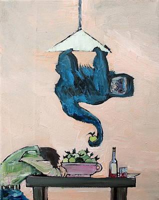 Chimpanzee Painting - Monkey Stealing An Apple by Fabrizio Cassetta