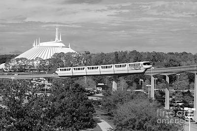 Magic Kingdom Photograph - Monorail And Space Mountain Magic Kingdom Walt Disney World Prints Black And White by Shawn O'Brien