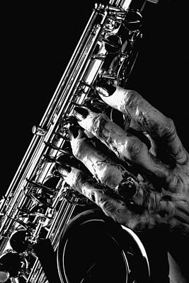 Monster Hand Saxophone Print by M K  Miller