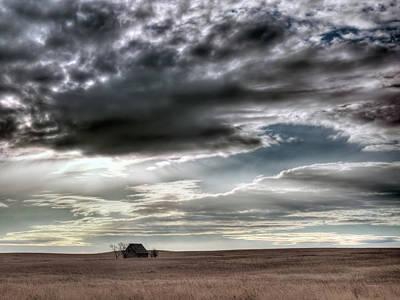 Old Cabins  - Montana Grasslands by Leland D Howard