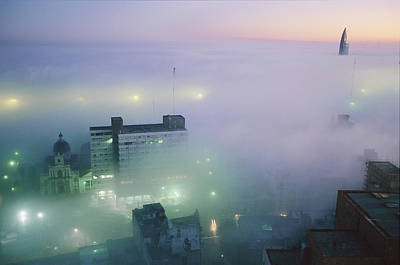 Natural Forces Photograph - Montevideo, Uruguay, In Predawn Fog by Pablo Corral Vega