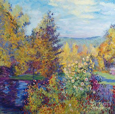 Montgeron  Garden Sur Les Traces De Monet  Print by David Lloyd Glover