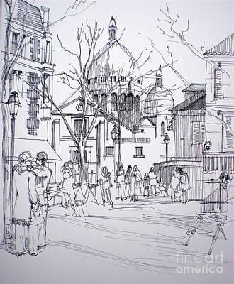 Sacre Coeur Drawing - Montmartre by Dominique Eichi