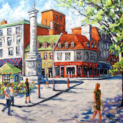 Quebec Cities Painting - Montreal Street Urban Scene By Prankearts by Richard T Pranke