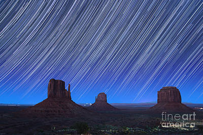 Monument Valley Star Trails 1 Print by Jane Rix