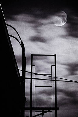 Moon Over Brooklyn Rooftop Print by Gary Heller