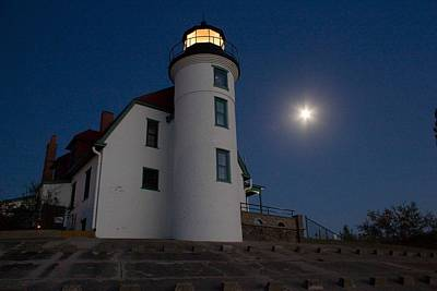Crystal Photograph - Moon Over Point Betsie Lighthouse by Twenty Two North Photography