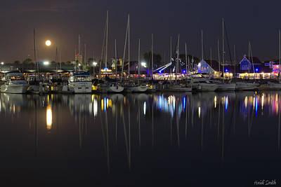Moon Over The Marina Print by Heidi Smith