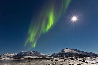 Aurora Borealis Photograph - Moon With Auroras by Frank Olsen