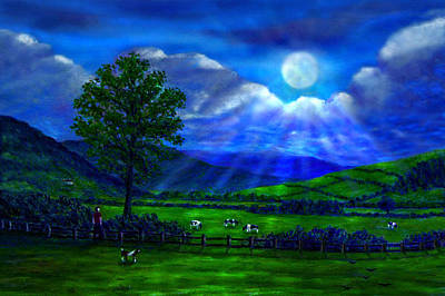 Cow Painting - Moonlight Valley by Ronald Haber