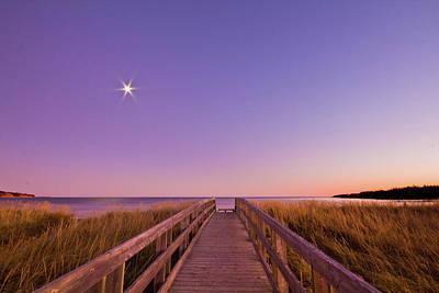 Moonlit Boardwalk At Beach Print by Nancy Rose