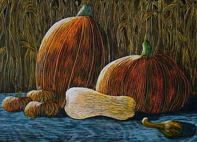 Moonlit Night Drawing - Moonlit Harvest by Annette Egan