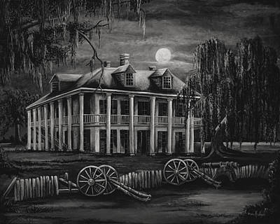 Southern Plantation Painting - Moonlit Plantation In Black And White by Elaine Hodges