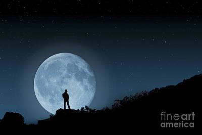 Man In The Moon Photograph - Moonlit Solitude by Steve Purnell