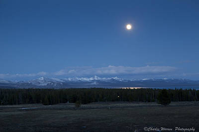 Moonrise At Fishing Bridge Print by Charles Warren