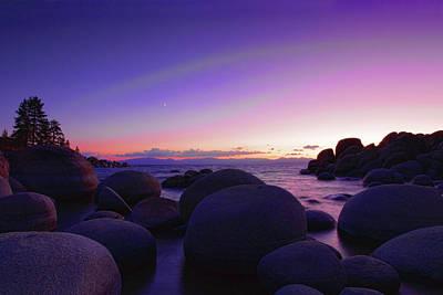 Sand Harbor Photograph - Moonrise Over Tahoe by Rick Berk