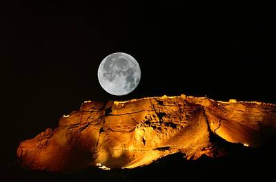 Moonrise Over The Ancient Fortress Print by Richard Nowitz