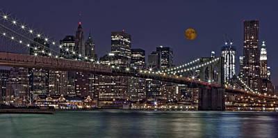 Moon Photograph - Moonrise Over The Brooklyn Bridge by Susan Candelario