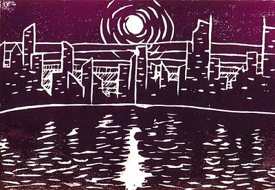 Corey Drawing - Moonrise Over The City by Corey Finney