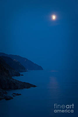 Moonrise Over Vernazza Print by Doug Sturgess