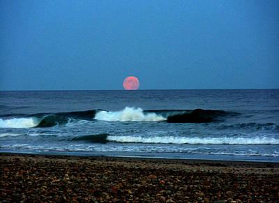 Moonrise Rexham Beach Original by Malcolm Lorente