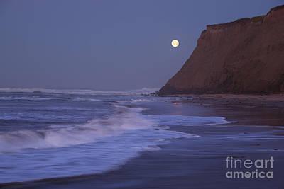 California Ocean Photograph - Moonset At Half Moon Bay by Matt Tilghman