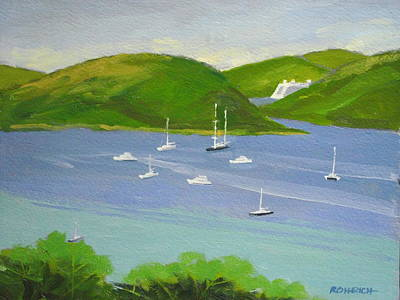 Moored Boats In Charlotte Amalie Bay Print by Robert Rohrich