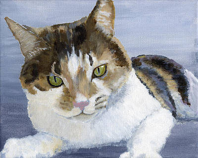 Silver Background Painting - Moppie by Mike Lester