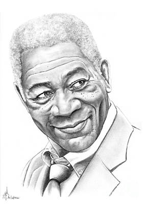 Famous People Drawing - Morgan Freeman by Murphy Elliott