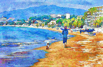 Abstract Beach Landscape Digital Art - Morning Beach In Cannes by Yury Malkov