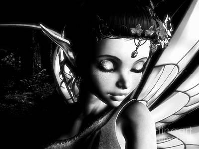 Goblin Digital Art - Morning Fairy Bw by Alexander Butler