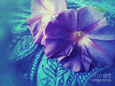 Morning Glories On Paisley Print by Ruby Hummersmith