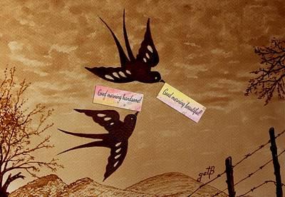 Swallow Digital Art - Morning Love Whispers Digital Art by Georgeta  Blanaru