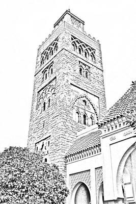 Morocco Pavilion Minaret Epcot Walt Disney World Prints Black And White Line Art Print by Shawn O'Brien