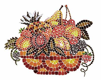 Dining Room Italian Painting - Mosaic Fruits by Irina Sztukowski