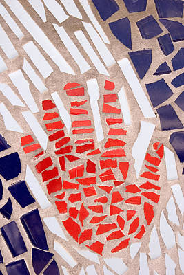Ceramic Tile Photograph - Mosaic Red Hand by Carol Leigh