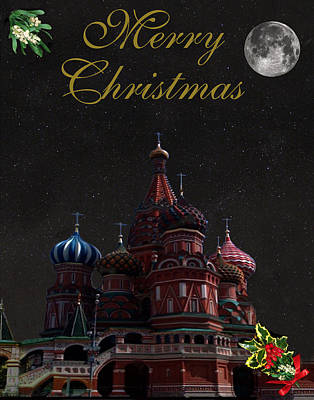 Moscow Mixed Media - Moscow Merry Christmas by Eric Kempson